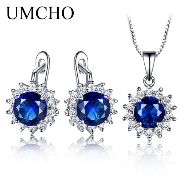 Brand 925 Sterling Silver Jewelry Sets For Women Blue Sapphire Gemstone Pendant Necklace Clip Earrings Wedding Fine Jewelry