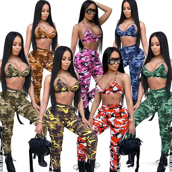 New Camouflage 2 Piece Set Women Two Piece Outfits Bra Crop Tops Bodycon Skinny Pants Trousers Sets Ladies Suit Sexy Clubwear HOT