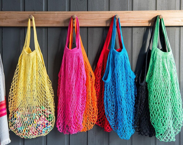 Reusable Mesh Cotton Net Market String Bag Organizer Portable Shopping Tote Handbag for Grocery Shopping Outdoor Packing Storage