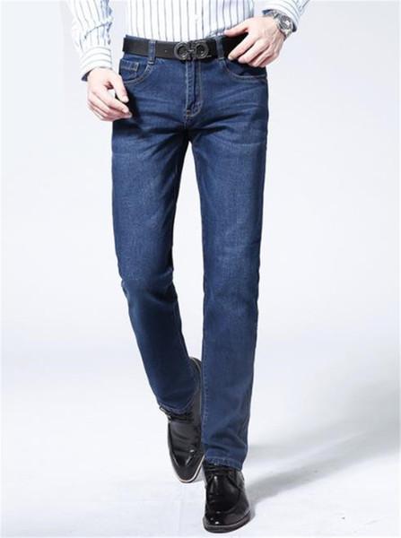 Designer Straight Marque BOY Hommes Jeans Plus La Taille Mid Taille Bleu Foncé Avec Fermeture Éclair Hommes Long Pantalon Mâle Vêtement