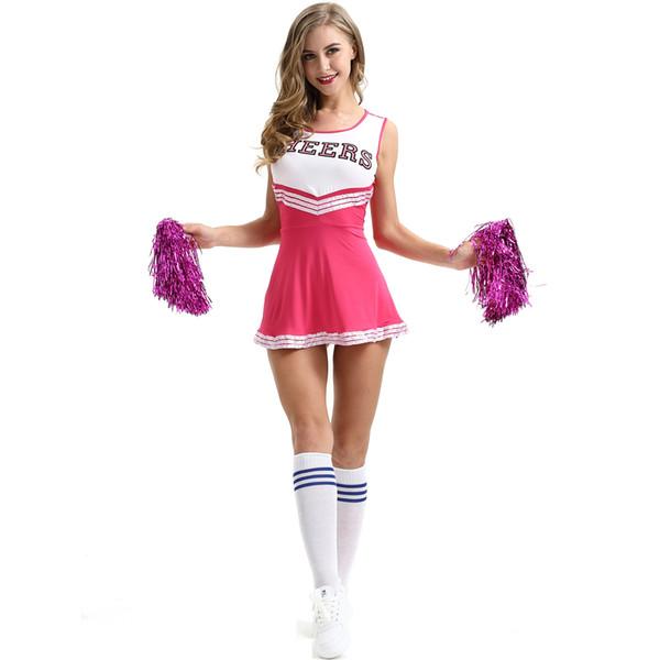 Cheerleading Kostüme Rose Red Student Sexy Girl Club Basketball Fußball Spiel Kleid Lala Blume Dessous Uniformen Zeige Neue Trendige Kleidung