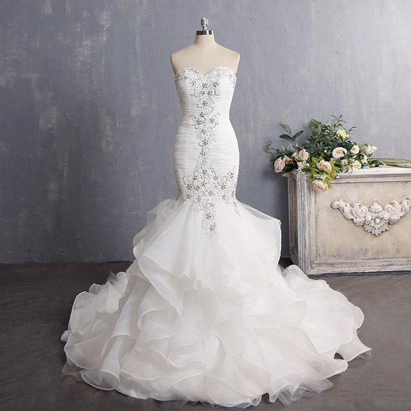 Real Photos High Quality Mermaid Sweetheart tired Organza Pleat Appliques With Crystal Bridal Gowns Sexy Back Chapel Train Wedding Dress