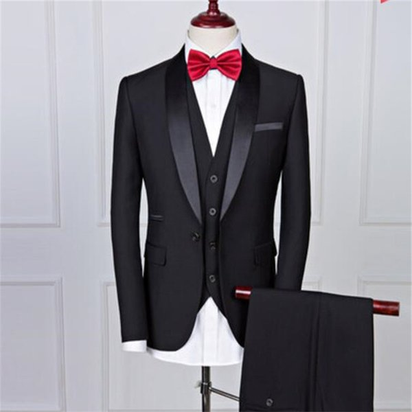 Popular Black One Button Groom Tuxedos Men Suits Cool Shawl Lapel Groomsmen Wedding/Prom/Dinner Best Man Blazer(Jacket+Pants+Tie+Vest)