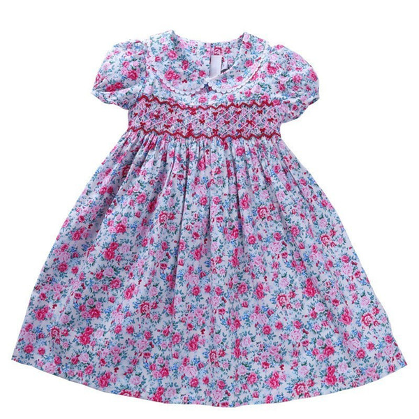 Smocked Dresses For Girls Frock Cotton Summer Kids Flower Dresses For Baby Outfit Embroidery Party Holiday School Boutiques Y190516