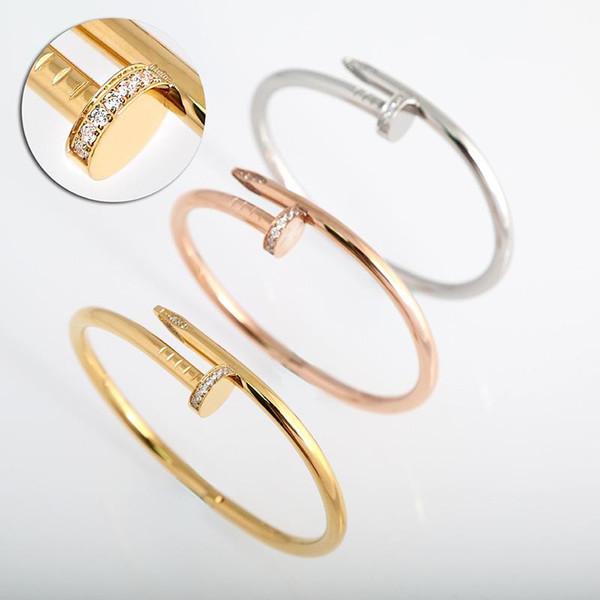 الأزياء والمجوهرات العلامة التجارية الفاخرة الكلاسيكية مصمم 18K الذهب البطانة الماس مسمار الكفة سوار المرأة أفضل هدية عيد الحب