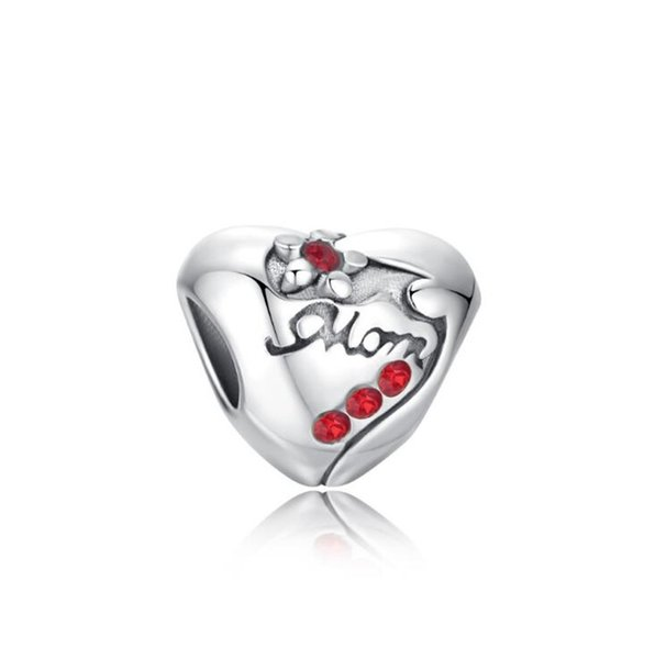 Mother's Day Gift Alloy Material Rhodium Plated Red Crystal Rhinestone Mom Flower European Charm Bead for DIY Bracelet Making