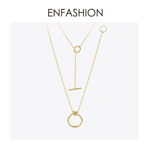 Enfashion klassische knoten anhänger halsketten edelstahl gold farbe choker halskette für frauen lange kette schmuck collier j190615