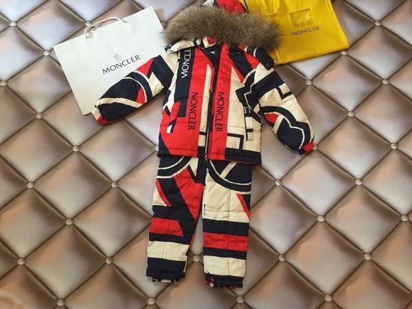 boy Ski suits Winter Children Clothing Sets Warm Snowsuits For Girls down Jackets Outerwear Coat Suspender Jumpsuit 0818