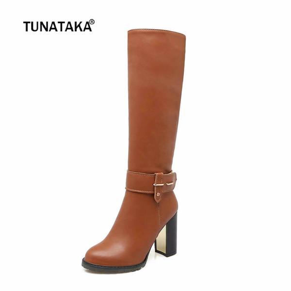 El invierno caliente la plaza de tacón alto de la cremallera lateral de la rodilla botas altas de moda zapatos de punta redonda Mujer Marrón Blanco Negro