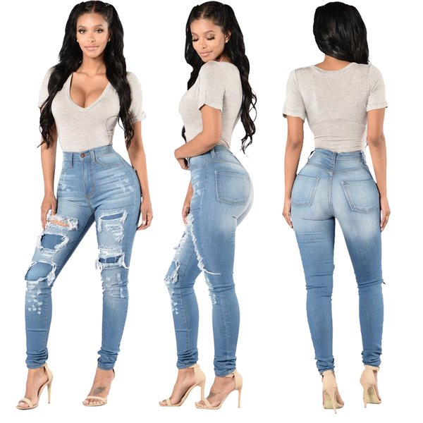 Wholesale 2019 Women brand jeans High Strength Water washed skinny jeans Ladies fashion New Style Leisure Bottom Jeans 155#