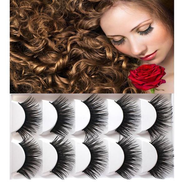 Fashion New 5 Pairs Extra Long Thick Cross Natural False Eyelashes Handmade Fake Eye Lashes For Women Beauty Hot Sale
