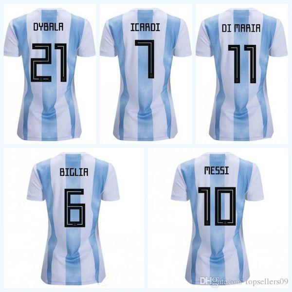 new concept 979f8 9903b 2019 MESSI World Cup Argentina Girl Football Shirt DYBALA DI MARIA Camiseta  PASTORE ICARDI Maillot 2018 Women Argentina Jerseys Soccer From E_jerseys,  ...