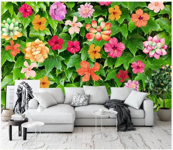 Papier peint 3D personnalisé peintures murales fonds d'écran 3d Fleurs vertes fraîches murale salon tv fond, peinture murale papiers peints à la maison décor