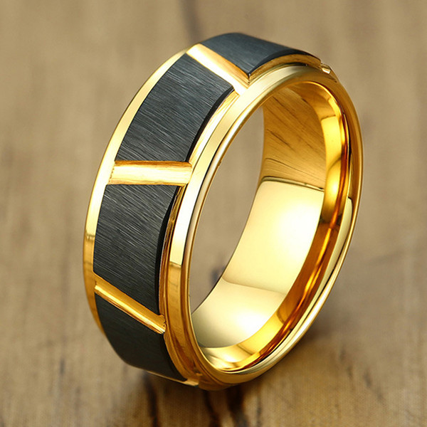 8mm Black with Gold Tungsten Carbide Ring with Diagonal Cuts Male Female Wedding Anniversary Fashion Jewelry Size 7 to 12