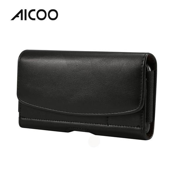 AICOO Männer Universal Leder Telefon Fall Lammfell Gummiband Hängende Gürteltasche mit Kartensteckplatz OPP Tasche