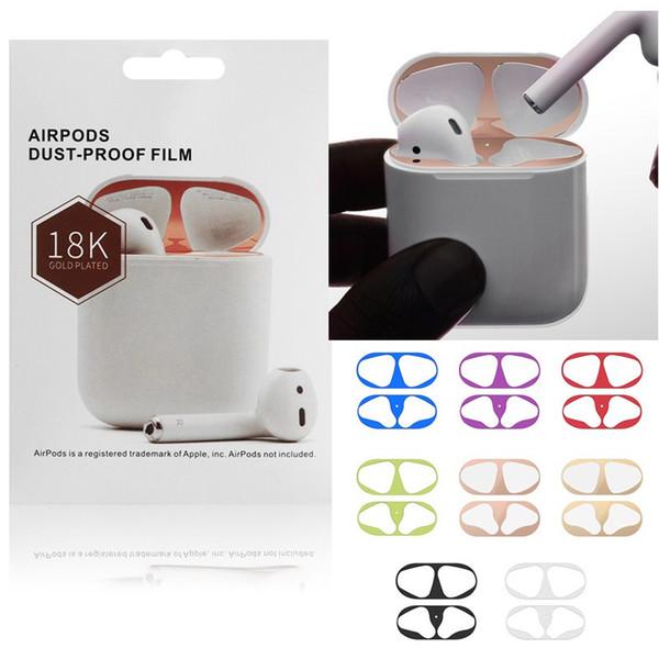 Металлический пылезащитный чехол для Apple Airpods Чехол для наушников Пылезащитный защитный стикер для Airpods Чехол для наушников Shell 18K Золотое покрытие Наклейки Новый
