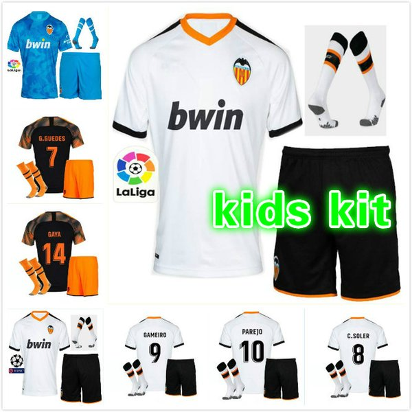 19 20 Valencia Soccer Jerseys PAREJO 2019 2020 Valencia CF RODRIGO Football Shirt MINA kids + socks Jersey GAYA GAMEIRO Soccer Shirt