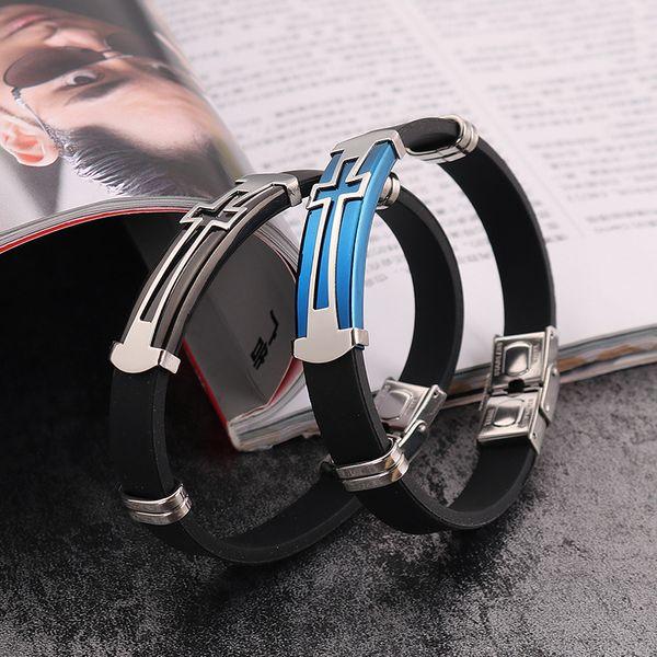 Wholesale New Titanium Steel Fashion Silica Gel Bracelet Cross Couple Titanium Steel Bracelet