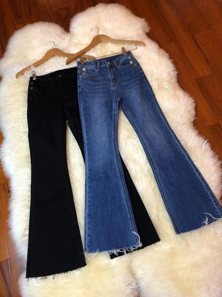 2019 Women's Fashion Loose Whisker Feet Denim Small Trumpet Trousers 1216