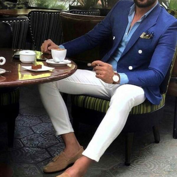 chnwedding / Neueste Spitzen Design Männer Anzüge für Hochzeit Bräutigam Blau Smokings Mann Blazer Abschlussball-Partei Terno Masculino Slim Fit Kostüm Homme
