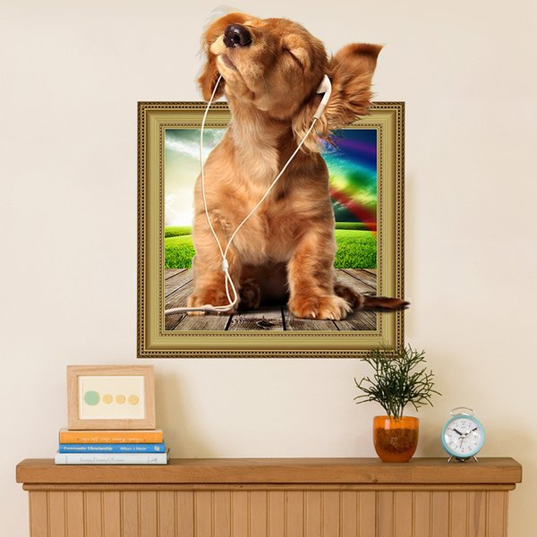 Removable Dogs Pets Cute Puppies Pug 3D Photo Frame Effect Window Wall Sticker Vinyl Poster Kids Baby Nursery Decor Decal