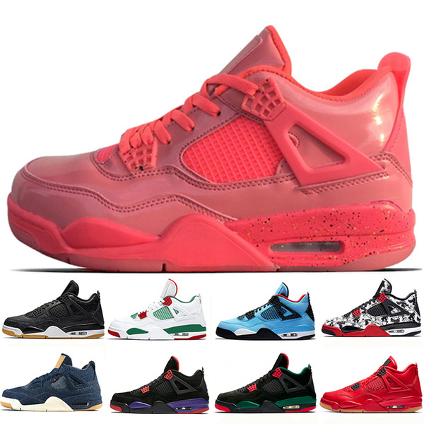 Jumpman 4 NRG Hot Punch Mens Scarpe da basket Designer Nero Bianco Pizzeria 4s Tattoo Singles Day Nero Gum Fire Red Sports Sneakers 8-13