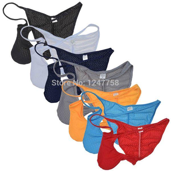 Sexy Men Underwear Respiration Trou Bikinis Briefs Nylon Respirant Hommes Pouch Bikini Taille Basse Sous-Vêtements Mens Bulge Pouch