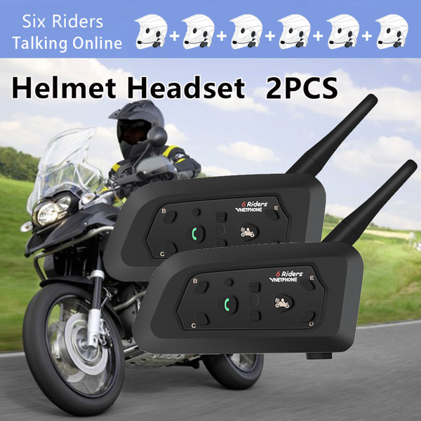 2 STÜCKE Drahtlose Bluetooth Helm Headset Motorrad Intercom 1200 mt Multi-Interphone HD Lautsprecher Für 6 Fahrer Motor Intercomunicador