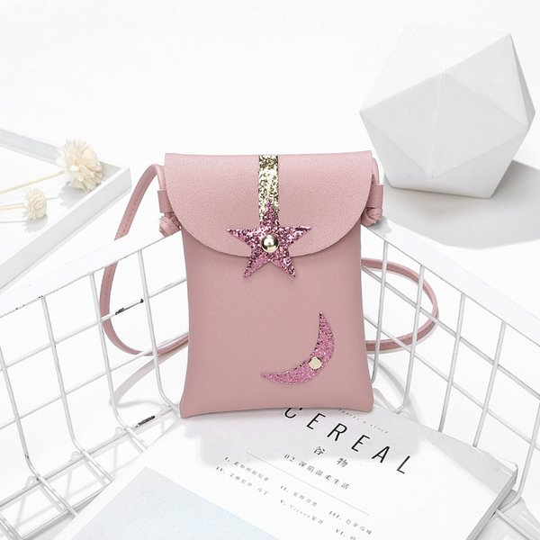Cheap Billtera Star and Moon Shoulder Crossbody Bag Fashion Style PU Leather Handbags for Women on Sale 4 Colors Female Messenger Bag