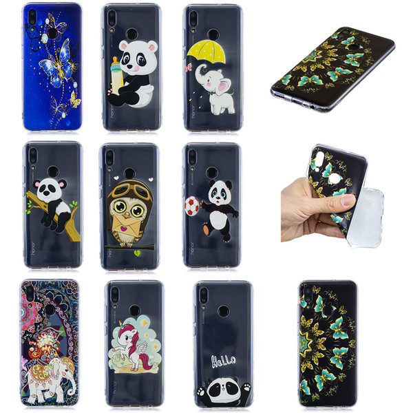 Soft TPU Back Phone Case For Huawei P Smart P30 P20 P10Lite Slim Fit Panda owl elephant butterfly unicorn Case for Huawei Y5 Y6 Y7 Y9 Cover