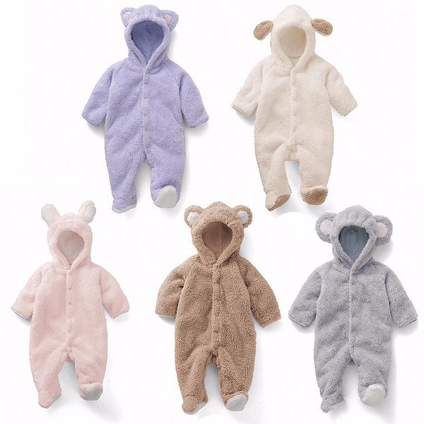 Newborn Baby Romper 2019 Fall Winter Warm Soft Baby Boy Girl Clothes Animal Overalls Infant Baby Jumpsuit MX190801