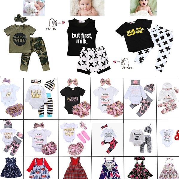 top popular More 60 style kids clothes boys Little baby girls 100%Cotton short sleeve causal summer dresses kids Clothing sets free choose 2020
