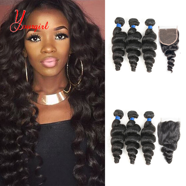 Wholesale Mink Raw Indian Human Virgin Hair Weave Bundles Loose Wave With Swiss lace Closure 824 Inches Natural Color Can Be Dyed 8A