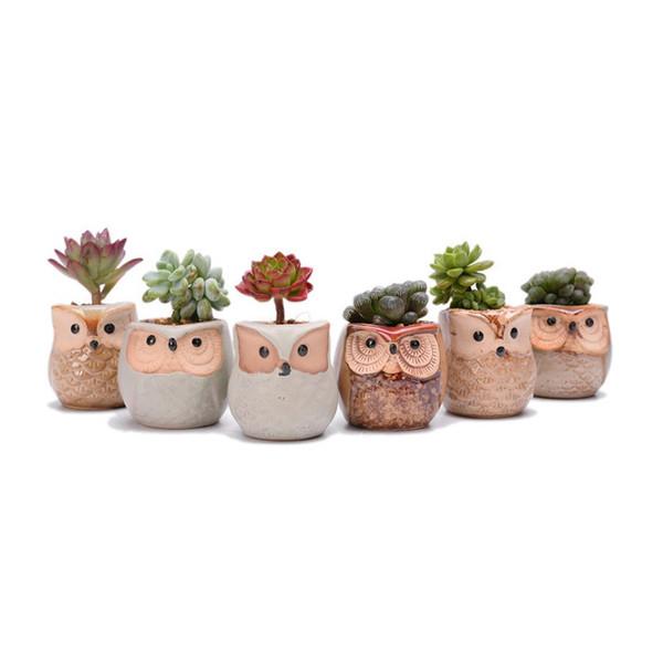 60 pcs Criativo Forma de Coruja De Cerâmica Vasos De Flores de Cerâmica Planter Desk Flor Pot Projeto Bonito Planta Suculenta Pote