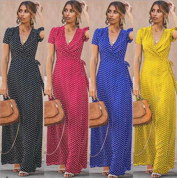 Vier Farben Frühling und Sommer neue Frauenkleid, Büstenhalter, Schulter V-Ausschnitt offen, gepunktet, hohe Taille Kleid S-XXL