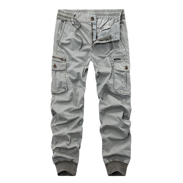 New 2019 Brand Casual Joggers Solid Color Pants Men Cotton Elastic Trousers Military Style Army Cargo Pants Mens Leggings 29-38 T2190612