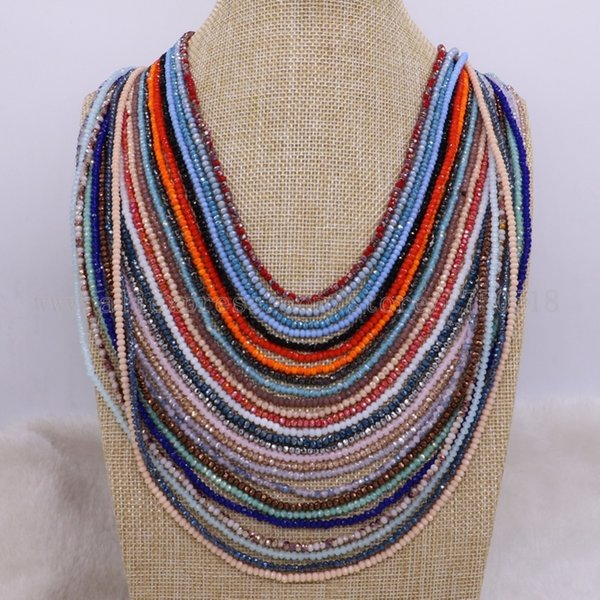 10 Pcs Crystal Beads Necklace Faceted Glass Beads Necklace Chain We Will Pick Mix Colors For You 1895 J190526