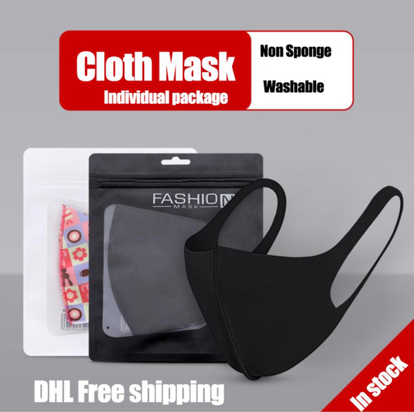 top popular In stock Washable Reusable Cloth face Mask Individual Package Individual package Fashion Mouth face mask Anti Dust DHL Free shipping 2020