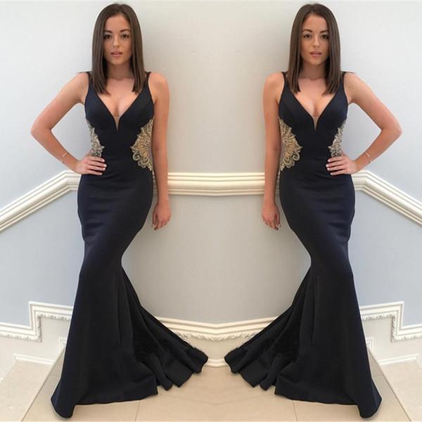 faba2355c9ca Compre Vestidos De Fiesta Baratos En Color Negro 2019 Escote En V Sexy Con  Cuentas Apliques De Encaje Vestidos De Noche Largos Formales Vestido De ...