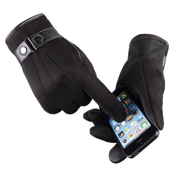 Guantes de invierno hombre Faux suede cuero dedo completo antideslizante guantes cálidos invierno otoño hombres mitten táctico