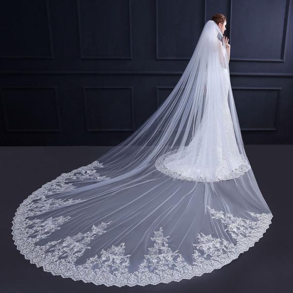 2019 Eine Schicht Elfenbein 3.5m Hochzeit Brial Veils Spitzeapplique-Kathedrale Langer Brautschleier für Ballkleid Brautkleider