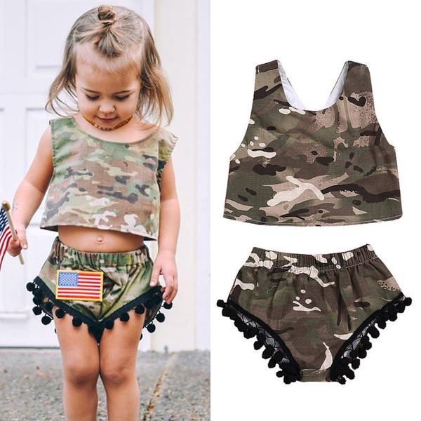 2018 brand new toddler infant kids baby girl clothes camo romper crops vest+shorts tassel pants 2pcs outfit sunsuit 3m-3t thumbnail
