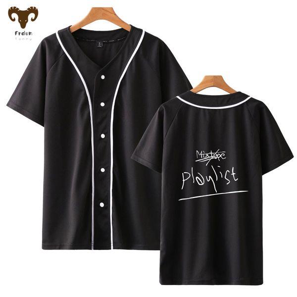 Jacket Frdun BTS RM MOMO V-neck basebol camisetas Oversize Casual Kpop manga curta Harajuku 2018 New Camisetas Mulheres Top T