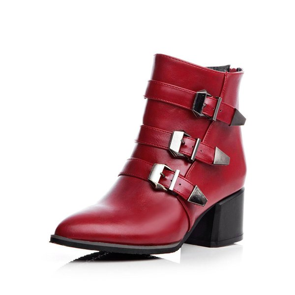 Free shipping womens PU plush buckle ankle boots fashion spring autum chunky heels medium solid buckle belt zip cheap zip work boots 6-62