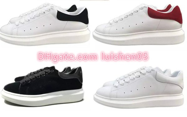 2018 New Mens Women Fashion Luxury White Leather Platform Shoes Flat Casual Shoes Lady Black Red Pink Sneakers v0v0