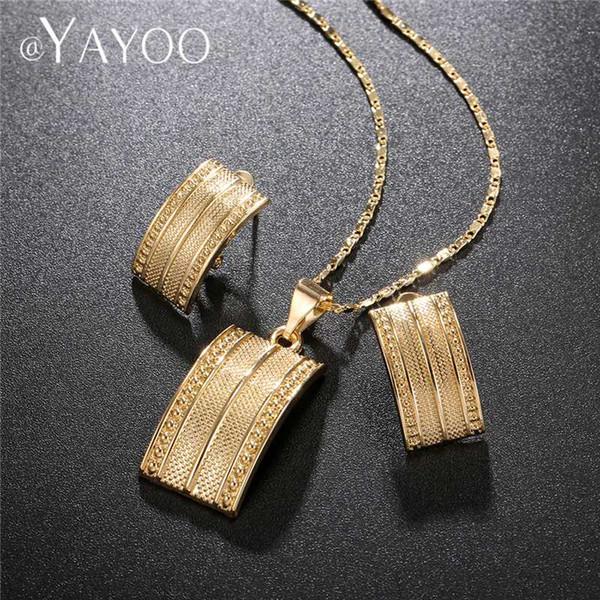 AYAYOO African Beads Jewelry Set 2018 Nigerian Wedding Women Jewelry Set Dubai Gold Color Vintage Bridal Necklace