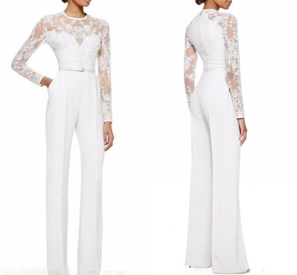 Custom Made White Mother Of The Bride Pant Suits Jumpsuit With Long Sleeves Lace Embellished 2019 Women Formal Evening Wear