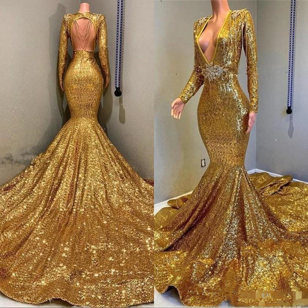 Mermaid Backless Evening Dresses Sequined Bling Formal Long Sleeves Plus Size Deep V-Neck Beaded Party Prom Dresses For Evening Wear 2019