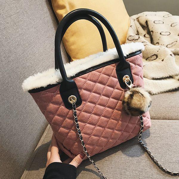 European Fashion Female Big Tote Bag 2018 Winter Newquality Velvet Women's Designer Handbag Lattice Chain Shoulder Messenger Bag