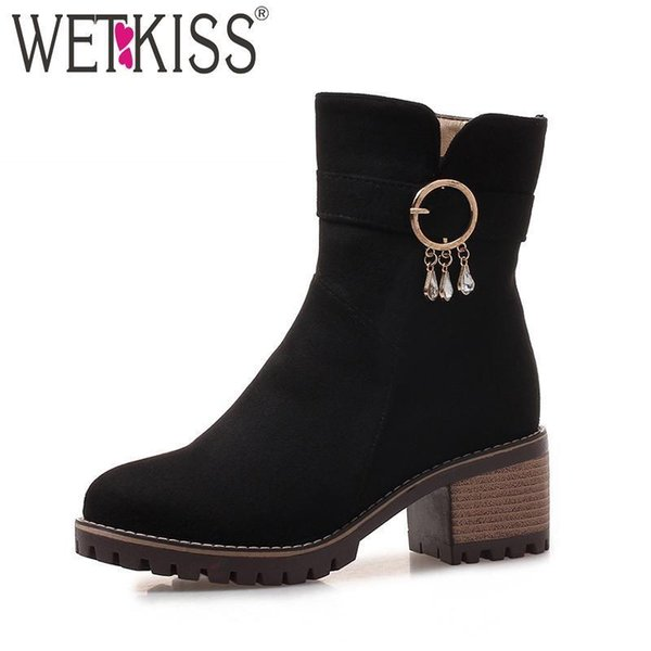 Wetkiss Platform Women Ankle Boots Crystal Round Toe Flock Footwear Nice Fashion Casual Lady Shoes Winter Wood High Heels Boot